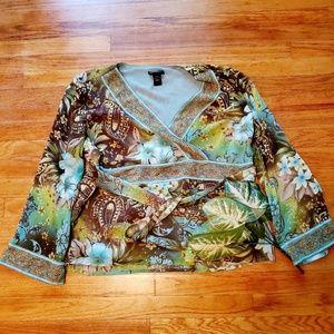 Lane Bryant plus paisley flower blouse sz 18/20